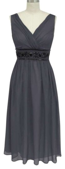 Gray Chiffon Goddess Beaded Waist Cocktail Formal Wedding Dress Size 10 (M)