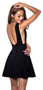 short dress Black Ponte Low-back Backless on Tradesy