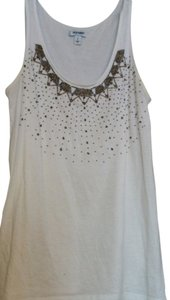 Old Navy Top Ivory w beaded neckline