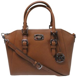 Michael Kors Ciara Leather Satchel in Luggage