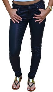 7 For All Mankind Denim Purple Plum Coated Straight Leg Jeans-Coated