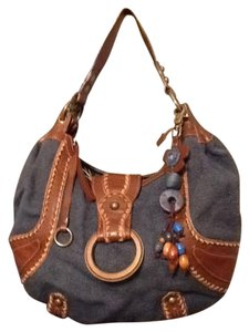 Isabella Fiore Leather Woven Canvas Hobo Bag