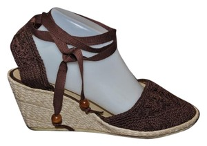 Boden Crochet Resort Epadrilles Brown Wedges