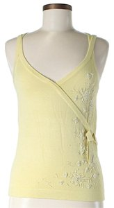 Cynthia Steffe Beaded Accents Crisscross Strap Knit Top Yellow