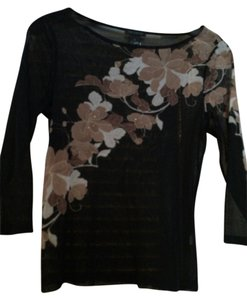 The Limited Top Black w brown flowers