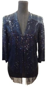 Haute Hippie Beaded Fringe Blue Blazer