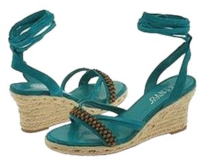 Franco Sarto Espadrille Casual Beaded Resort Teal Sandals
