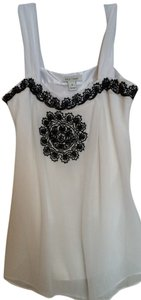 White House | Black Market Top White w black beading