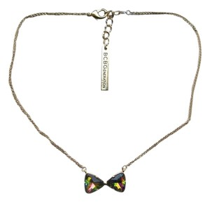 BCBGMAXAZRIA BCBGeneration Faceted Glass Stones Brushed Bow Necklace