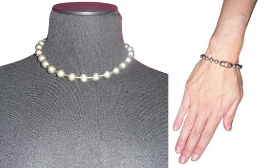 Other Matte Silver-Tone Large Ball-Chain Necklace + Bracelet