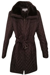 Marc New York Quilted Fur Full Length Belted Trench Coat