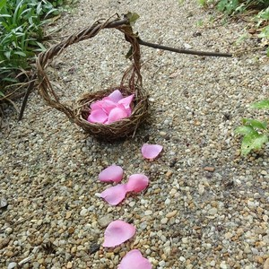 Wood Handled Rustic Flower Girl Basket