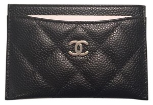 Chanel New 2016 Black Caviar Leather Credit Card Case Wallet