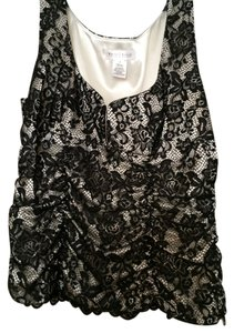 White House | Black Market Top Black lace over ivory lining