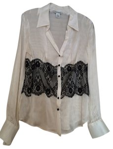 White House | Black Market Button Down Shirt White with black lace mid-section