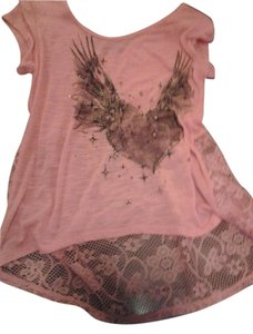 Hybrid Apparel Sparkle Scoop Back T Shirt tangerine lace