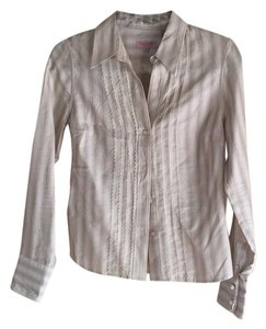 Ted Baker Button Down Shirt White/ brown/ lace