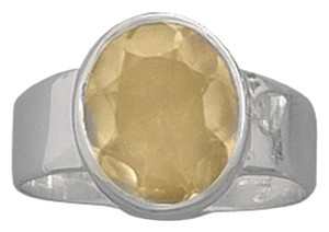 Sterling Collections Faceted Sterling Silver Oval Citrine Ring (sizes 6-9)