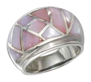 unknown Sterling Silver Mosaic Inlay Pink Shell Dome Ring