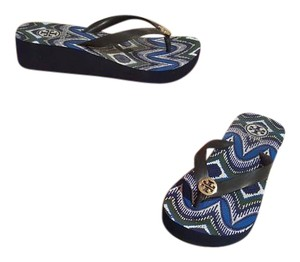Tory Burch Blue and Green Multi print Sandals