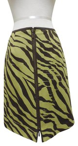 Worth Leather A-line Skirt Puce green & brown animal print