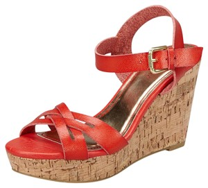 Bamboo Cork Wedge Sandals Coral Wedges