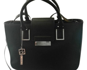 Calvin Klein Leather Shoulder Tote in Black