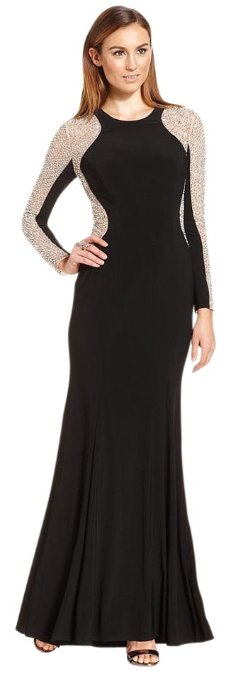 Xscape Sleeve Studded Black Silver Color Block Evening Gown Long ...