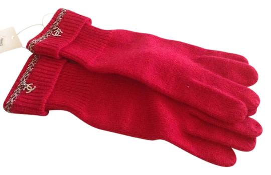Chanel CHANEL AUTHENTIC NWT RED CASHMERE & CC CHAIN GLOVES