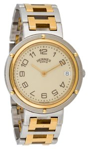 Hermès Mens HERMES Clipper 34mm 18K yellow gold and SS, Large Unisex Model, Exellent