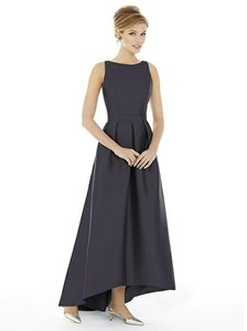 Alfred Sung Onyx Charcoal Gray Sateen Twill D706 Modern Bridesmaid/Mob Dress Size 6 (S)