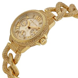 Michael Kors Mini Camille Champagne Dial Crystal Encrusted Ladies Watch MK3330