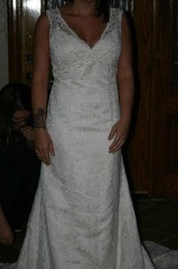 David's Bridal Ivory / Champagne Nylon & Polyester Gown Style #t9612 Formal Wedding Dress Size 14 (L)