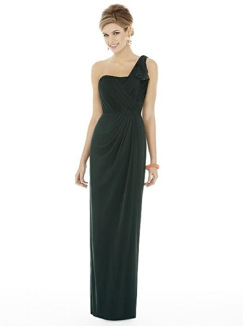 Item - Hunter Green Chiffon Knit D704 Feminine Bridesmaid/Mob Dress Size 6 (S)