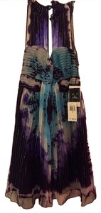 Anna Sui Ombre Keyhole Turqouise Tie Dye Dress