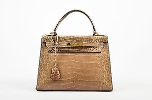 Hermès Vintage Crocodile Leather Gold Hardware Kelly 28 Handbag Satchel in Taupe