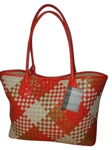 Brahmin Leather New Tote in orange