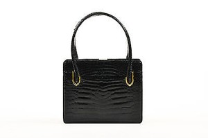 Gucci Vintage Crocodile Satchel in Black