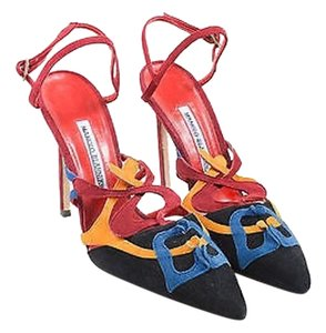 Manolo Blahnik Black Red Multi-Color Sandals