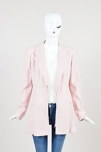 Chanel Vintage Chanel Pink Silk Knit Pearl Button Long Structured Jacket