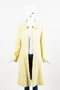 Chanel Vintage White Tweed Zipped Front Split Long Structured Coat