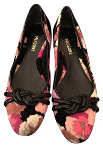Missoni Couture Black and Pink Floral Flats