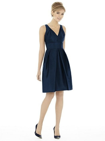 Alfred Sung Midnight Navy Peau De Soie D703 Modern Bridesmaid/Mob Dress Size 10 (M) Image 0