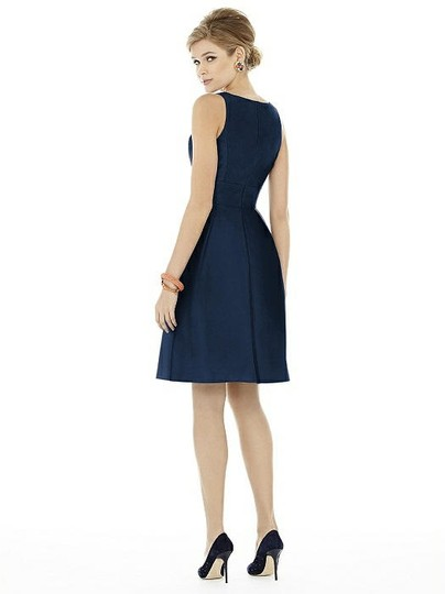 Alfred Sung Midnight Navy Peau De Soie D703 Modern Bridesmaid/Mob Dress Size 10 (M) Image 1