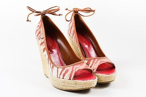 Sergio Rossi Red White Canvas Striped Ankle Tie Espadrille Wedges Pink Platforms