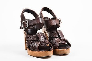 Chloé Chloe Leather Wooden Brown Sandals