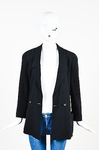 Chanel Chanel Boutique Black Twill Notch Lapel Long Sleeve Double Breasted Blazer