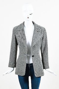 Chanel Chanel Boutique Gray Black Wool Stripe Notch Collar Single Button Blazer Jacket