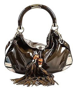 Gucci Gold Tone Patent Leather Suede Tassels Indy Babouska Hobo Bag
