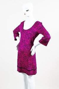Diane von Furstenberg short dress Pink Fuchsia Black Silk Knit Print Scoop Neck on Tradesy